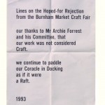 Letterpress poster, Lines on the Hoped-for Rejection from The Burnham Market Craft Fair