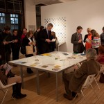 Reading books at the private view.