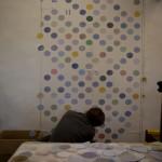 Erica Van Horn installing envelope interiors.